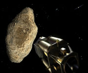 Спутник возле астероида