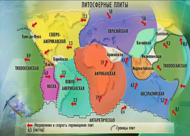 Карта литосферы Земли.