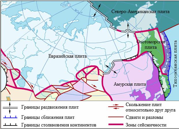 Карта литосферных блоков России