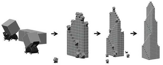 Стадии строительства здания роботами-термитами