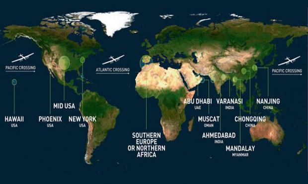 Маршрут Солнечного самолета – Solar Impulse 2.