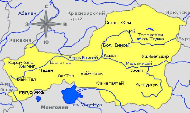Озера России Убсу-Нур на карте